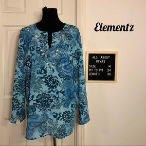 Elementz Blue Bohemian Paisley Top Tunic Medium